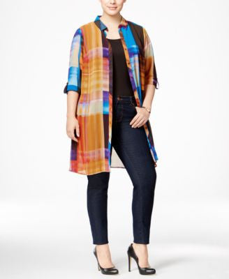 NY Collection Plus Size Plaid Chiffon Duster Blouse