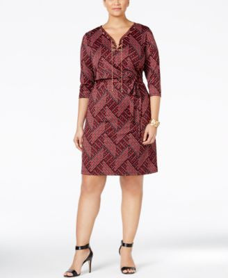 NY Collection Plus Size Printed Lace-Up Sheath Dress