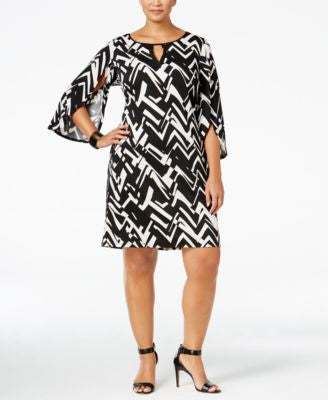 NY Collection Plus Size Printed Tulip-Sleeve Dress