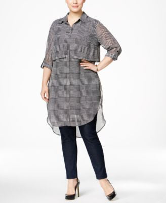 NY Collection Plus Size Glenn Plaid Chiffon Shirtdress