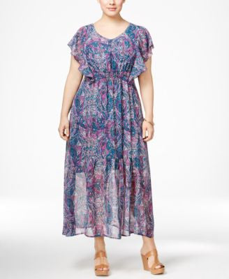 NY Collection Plus Size Flutter-Sleeve Maxi Dress