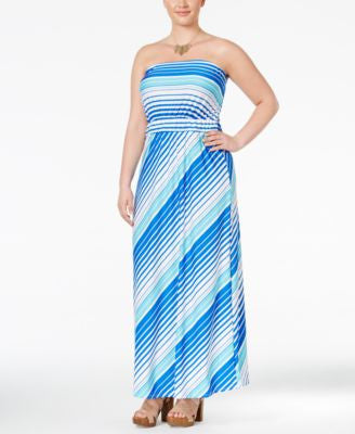 NY Collection Plus Size Strapless Striped Maxi Dress