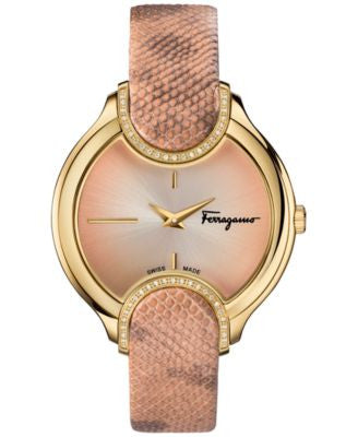 Ferragamo Women's Swiss Signature Diamond (1/10 ct. t.w.) Nude Leather Strap Watch 38mm FIZ05 0015