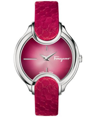 Ferragamo Women's Swiss Signature Cherry Red Leather Strap Watch 38mm FIZ01 0015