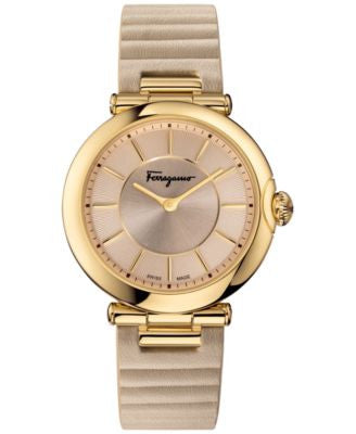 Ferragamo Women's Swiss Symphonie Beige Leather Strap Watch 36mm FIN020015