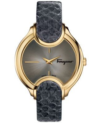Ferragamo Women's Swiss Signature Gray Leather Strap Watch 38mm FIZ02 0015