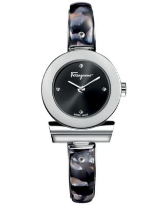 Ferragamo Women's Swiss Gancino Stainless Steel with Black Acetate Inlay Bangle Bracelet Watch 26mm