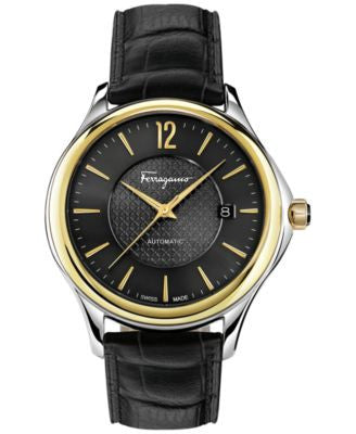 Ferragamo Men's Swiss Automatic Time Black Leather Strap Watch 41mm FFT02 0016