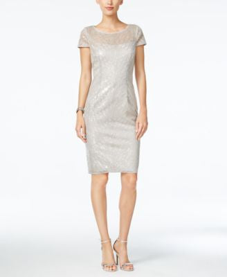 Adrianna Papell Petite Sequined Illusion Sheath Dress