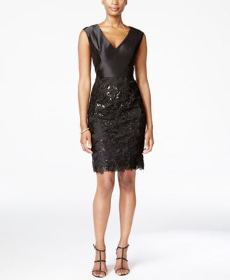 Adrianna Papell Lace Sequined Sheath Dress