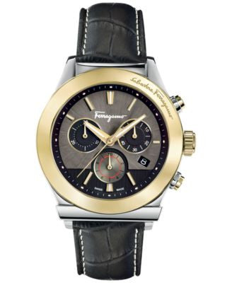 Ferragamo Men's Swiss Chronograph 1898 Black Leather Strap Watch 42mm FFM12 0016