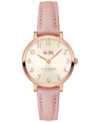 COACH Women's Ultra Slim Pink Leather Strap Watch 28mm 14502565