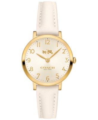 COACH Women's Ultra Slim White Leather Strap Watch 28mm 14502564