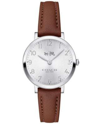 COACH Women's Ultra Slim Brown Leather Strap Watch 28mm 14502563