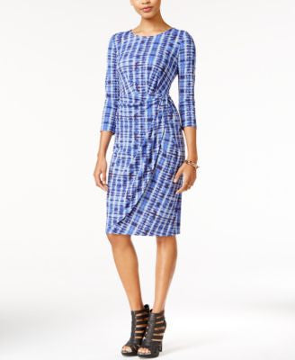 Bar III Printed Faux-Wrap Sheath Dress, Only at Vogily