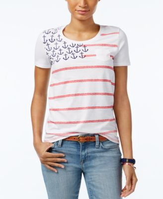 Tommy Hilfiger Anchor-Print Flag Graphic T-Shirt