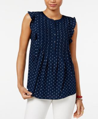 Tommy Hilfiger Printed Ruffled-Sleeve Top