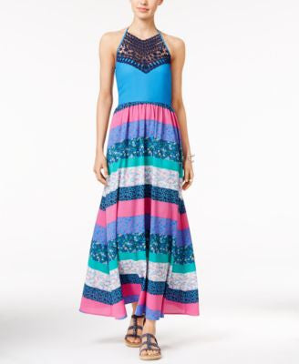 Tommy Hilfiger Printed Crochet-Detail Maxi Dress