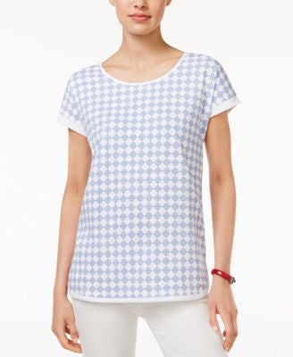 Tommy Hilfiger Renata Diamond-Print T-Shirt, Only at Vogily