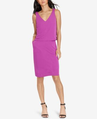 Lauren Ralph Lauren Petite Layered Jersey V-Back Dress