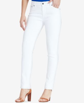 Lauren Ralph Lauren Super-Stretch Premier Straight-Leg Jeans, White Wash