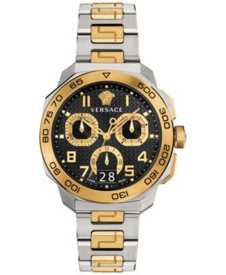 Versace Men's Swiss Chronograph Dylos Two-Tone Ion-Plated Stainless Steel Bracelet Watch 44mm VQC10