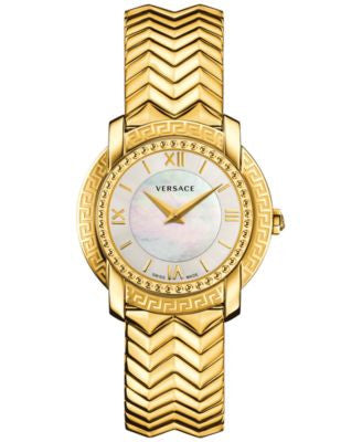 Versace Women's Swiss DV25 Gold-Tone Ion-Plated Stainless Steel Bracelet Watch 36mm VAM04 0016