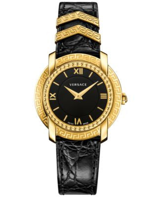 Versace Women's Swiss DV25 Black Leather Strap Watch 36mm VAM03 0016