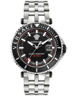 Versace Men's Swiss V Race Diver Stainless Steel Bracelet Watch 46mm VAK03 0016