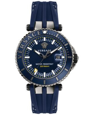 Versace Men's Swiss V Race Diver Blue Silicone Strap Watch 46mm VAK02 0016