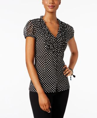 INC International Concepts Petite Printed Ruffled Blouse, Only at Vogily