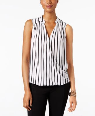 INC International Concepts Striped Surplice Blouse, Only at Vogily
