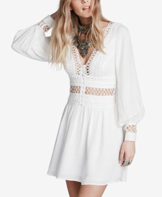 Free People I Think I Love You Cutout Illusion Peasant Dress