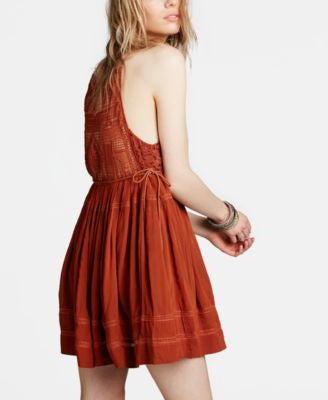 Free People Emily Crocheted Illusion Fit & Flare Dress