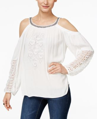 INC International Concepts Embellished Cold-Shoulder Peasant Top, Only at Vogily