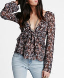 Free People Sheer Tiered Peasant Top