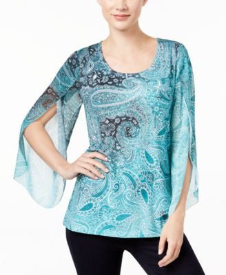 JM Collection Petite Paisley-Print Angel-Sleeve Top, Only at Vogily