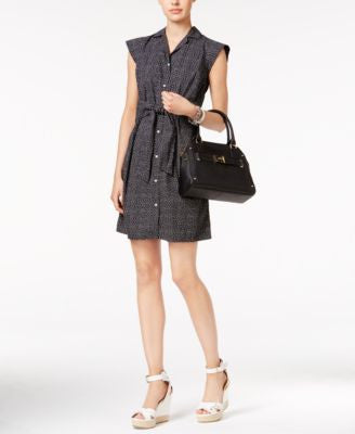 Tommy Hilfiger Belted Dot-Print Shirtdress, Only at Vogily