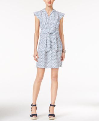 Tommy Hilfiger Belted Floral-Print Shirtdress, Only at Vogily