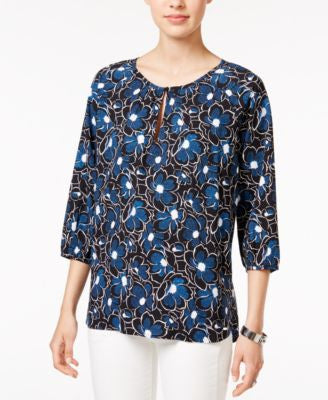 Tommy Hilfiger Printed Peasant Blouse, Only at Vogily