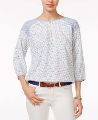 Tommy Hilfiger Geo-Print Peasant Top, Only at Vogily