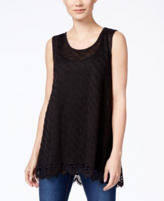 Style & Co. Crochet-Hem Tank Top, Only at Vogily