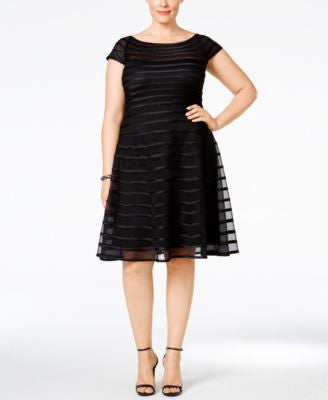 Betsy & Adam Plus Size Mesh Striped A-Line Dress