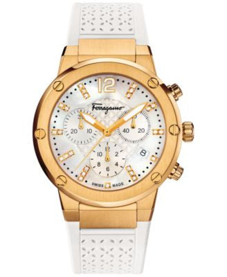 Ferragamo Women's Swiss Chronograph F-80 Diamond (1/10 ct. t.w.) White Caoutchouc Strap Watch 39mm F