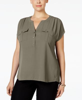 INC International Concepts Plus Size Mixed-Media Utility Shirt, Only at Vogily