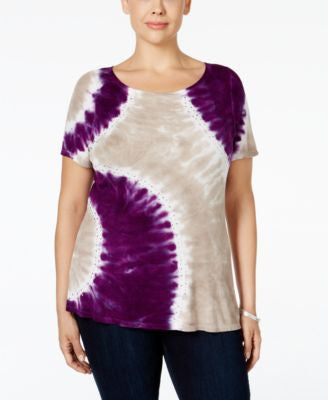 INC International Concepts Plus Size Tie-Dyed Top, Only at Vogily