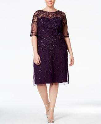Adrianna Papell Plus Size Short-Sleeve Beaded Dress