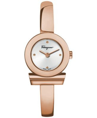 Ferragamo Women's Swiss Gancino Rose Gold-Tone Ion-Plated Stainless Steel Bangle Bracelet Watch 22mm