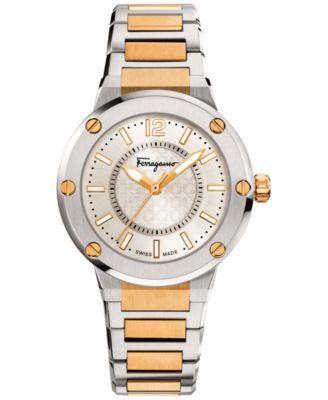 Ferragamo Women's Swiss F-80 Two-Tone Ion-Plated Stainless Steel Bracelet Watch 33mm FIG04 0015