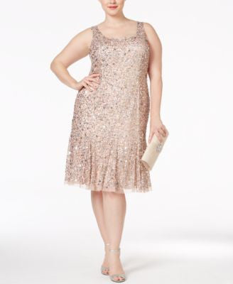 Adrianna Papell Plus Size Sequined Cocktail Dress
